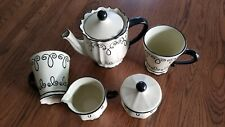 Antique Chaluer coffee/tea pot with 2 cups, sugar and creamer