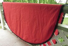 "OVAL TABLECLOTH RED with BLACK and RED LAYERED FRINGE BORDER 60"" x 88"" Vintage"