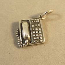 .925 Sterling Silver 3-D OFFICE TELEPHONE CHARM Pendant NEW Phone Desk 925 WK13
