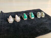925 Sterling Silver ANTIQUE VINTAGE ALPACA TAXCO MEXICO Stone 3 Earrings Screw