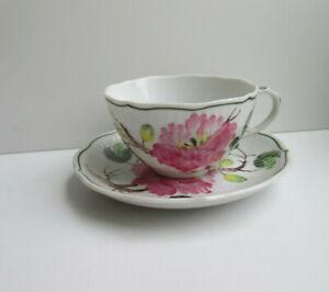 AW AUGUST WARNECKE Kaffeetasse / Teetasse  Dekor Hybiskus Handmalerei