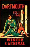 Dartmouth NH 1948 Winter Carnival Vintage Poster Print Retro Style Skiing Art