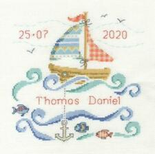 DMC Counted Cross Stitch Kit - Baby Sampler - Sail Boat Baby