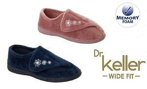 LADIES DR KELLER DIABETIC ORTHOPAEDIC WIDE FIT ADJUSTABLE SLIPPERS UK SIZE 4-8