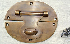 "large heavy HASP & STAPLE 5"" OVAL catch latch box door solid brass"