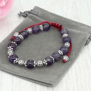 Handmade Natural Amethyst Crystal Healing Chakra Gemstone Cord Bracelet.