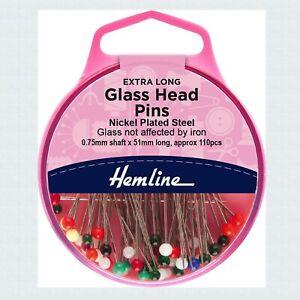 Hemline - Glass Head Pins Extra Long - 110 pins