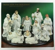 Replacement Figures Home For The Holidays Porcelain Nativity Set 1999 White Gold