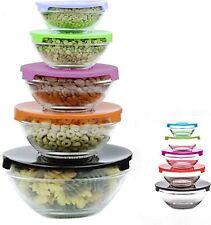 Multi-Colour 5pcs Glass Food Storage Bowls with Lids - Stackable Glass Bowls Set