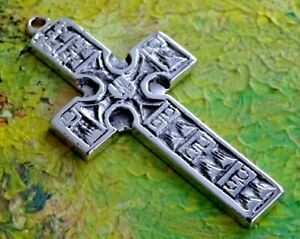 """Fabulous chunky 2.25"""" solid sterling silver cross pendant fob. 14.7g"""