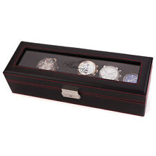 Swiss Watch International 6 Slots Black & Red Faux Leather Case