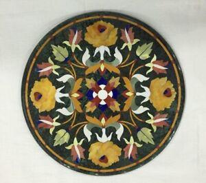 "21"" Green Marble top Table Semi Precious Stone Inlay Handicraft Work"