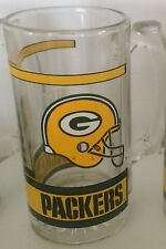 NFL GREEN BAY PACKER FOOTBALL VINTAGE 12oz BEER GLASS MUG W/ PACKER LOGO