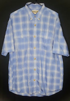 Duluth Trading Co. Men's Large Short Sleeve Button Down Nylon Blue Plaid Shirt