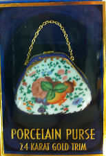 Classic Collectables Hand Painted Porcelain Purse 24K Gold Trim with chain