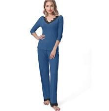Navy Blue Lace Trim Womens Long Sleeve Pajama Loungewear Set XXL