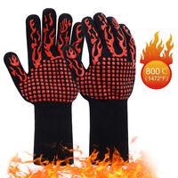 BBQ Gloves Fireproof Heat Resistant Grilling Gloves Non-Slip Oven Baking Gloves