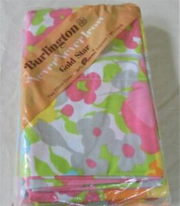 Vtg Burlington Pillowcases Pink Floral 60s 70s Mod New Old Stock