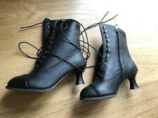 Womens Victorian Mid-Calf  Boots Steampunk  Heel Size 4