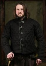 Medieval thick padded Black Super Gambeson with open Armpits jacket coat