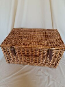 Large Wooden Wicker Basket With Handle, 2 Straps & Buckles #672