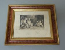 ORIGINAL FRANK PATON, 19th C. ENGLISH ARTIST, FRAMED ENGRAVING, DOG SCENE