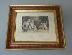 ORIGINAL FRANK PATON, 19th C. ENGLISH ARTIST, FRAMED ENGRAVING, DOG SCENE