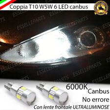 COPPIA LUCI POSIZIONE T10 6 LED CANBUS CON LENTE  FORD FIESTA VI NO ERROR BIANCO