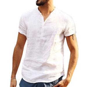 Mens Summer Casual Short Sleeve Plain Shirts Tee Tops Solid Henley Neck T-Shirts