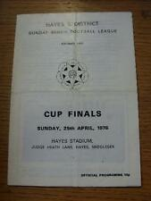 25/04/1976 Hayes dimanche Ligue Mineure Cup finales: Hayes Academicals V Deanes & Ha