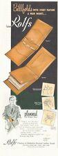 1952 Rolfs Men fine Dress Leather Wallets Billfolds PRINT AD