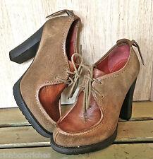 Luxury Rebel tan suede brown leather tie bootie shoes crepe platform WORN 1X 36