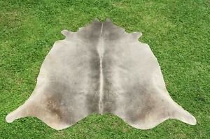 Large Cowhide Rugs Gray Real Hair on Cow Hide Skin Leather Area Rug 5 x 6 ft