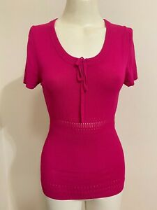 Events Fashion PINK Top Scoop Neck Bow Knit Ribbed Cap Sleeve NWT Broidery Cute