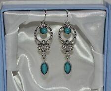 Lovely 925 Silver Plt Vintage Style Boho Turquoise Drop/Dangle Hook Earrings