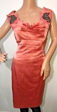 Karen Millen peach/pink silk embellished fitted pencil dress size 12