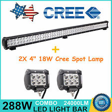 """44"""" 288W CREE LED Work Light Bar Combo Offroad Jeep SUV with 2X 4"""" 18W Cree Spot"""