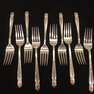 """Danish Princess Flatware Intl Silver Holmes Set 11 Salad Dessert Fork 6-3/4"""" Vtg"""