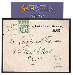 GB WW1 London SOUP KITCHEN Card Message 1914 Head BRITISH RED CROSS Cover MS144