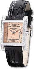 Ladies Charles Hubert 0.42ctw Diamond Black Band Peach 29x28mm Dial Watch