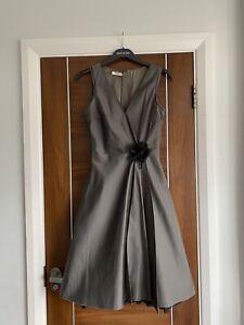 PRADA Dark Mink Flower Side Detail Silk Wool Taffeta Wrap   Dress Size 40