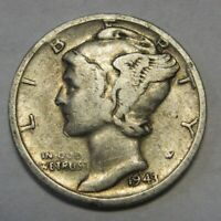 1943-S Mercury Head Silver Dime in Average Circulated Condition  DUTCH AUCTION