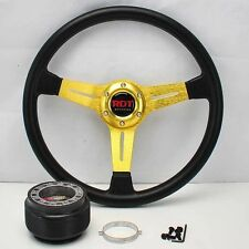"GOLD 14"" STEERING WHEEL +HUB ADAPTER 01-12 CIVIC SCION tC 98-02 ACCORD 02-05 RSX"