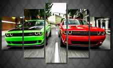 Frame Picture Canvas Prints Red Green Dodge Challenger Srt Hellcat Muscle Car