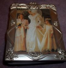 "Silver Plate Flip Open Wedding Photo Book Album Holds 100 Photos 4"" X  6""   R"