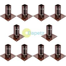 "Fence Post Support Bolt Down 4"" 100mm Garden Holder Like Metpost Grip Brown"