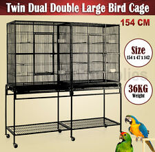 Top Quality 154 CM Twin Dual Double Large Pet Bird Cage Parrot Cockatoo Aviary
