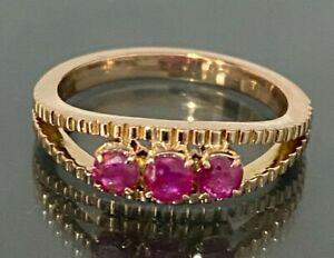 14CT solid gold & Ruby ring 4.40g size P 1/2 -  7 3/4
