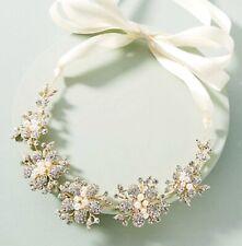 Anthropologie Crown Headband Necklace Pearl Stone Belt Flower Metal Ribbon New