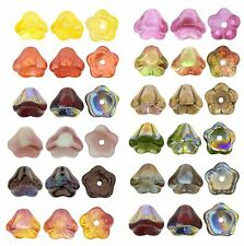 25 Bell Flower Czech Glass Beads 8MM Opaque & Transparent Vitral & Luster Colors